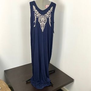 Just Found embroidered blue maxi dress 3X
